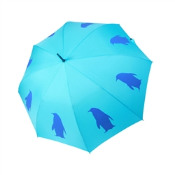 Penguin Umbrella Navy Blue on Light Blue