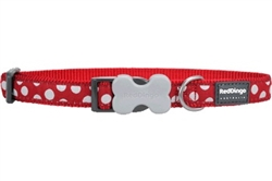 White Spots Red - Dog Collar, Leads, and Harness