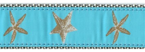 "Aqua Starfish - 1.25"" Collars, Leashes and Harnesses"