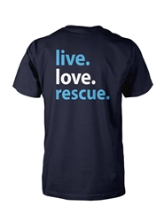 Live. Love. Rescue - Navy Short Sleeve Unisex Tee -