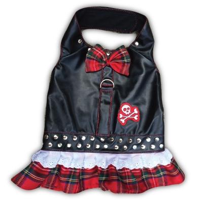 Red Plaid Biker Bow Dress