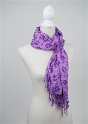 Printed Paws - Rayon Scarf -Purple/Light Purple
