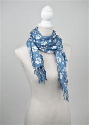 Printed Paws Rayon Scarf -Blue/White