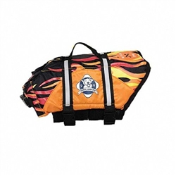 Dog Life Jacket - FLAMES Paws Aboard Dog Life Vest | Nylon Pet Preserver