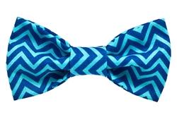 Bow Tie - Blue Chevron