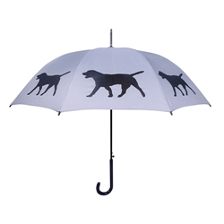 Labrador Retriever Black on Silver Walking Stick Umbrella