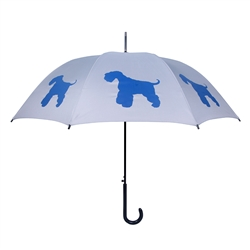 Schnauzer Blue on Silver Walking Stick Umbrella