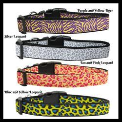 Safari Print Nylon Ribbon Dog Collars