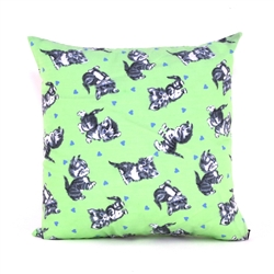 Cute Kittens Green Throw Pillow