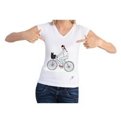 Dog On A Bike Short Sleeve Shirt by Dog Fashion Living
