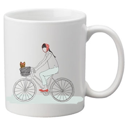 Dog On A Bike Two-Sided Mug, pack of 4, by Dog Fashion Living