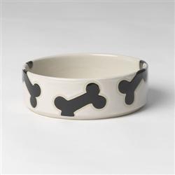 Slicker Bones Natural/Black Dog Bowls