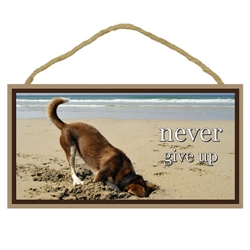 "Never Give Up Wooden Sign 5"" x 10"""