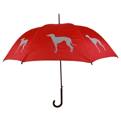 Greyhound Grey on Cardinal Red Umbrella