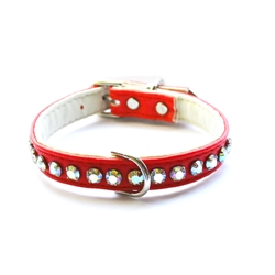 Ashley Large Crystal Fire Engine Red Dog Collar