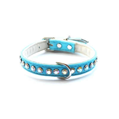 Ashley Crystal Vegan Dog Collar- Teal
