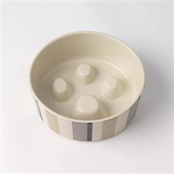 Metro Stripes Slow Feed Stoneware Bowl