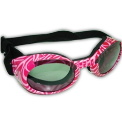 Pink Zebra ILS Doggles with Smoke Lens and Black Strap