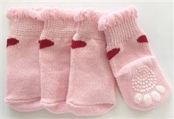 1 Heart None Slip Socks Pink