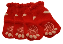 2 Hearts None Slip Socks Red