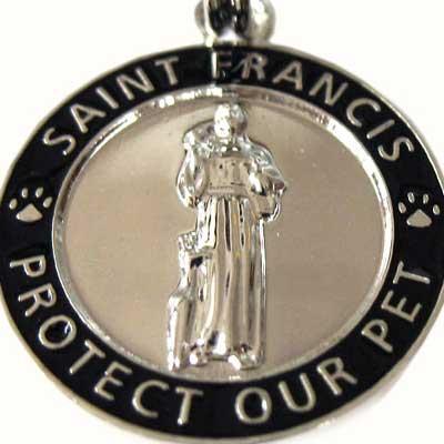 Small Black / Silver St. Francis Medallion