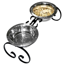 Classic Wrought Iron Diners with Stainless Steel Bowls