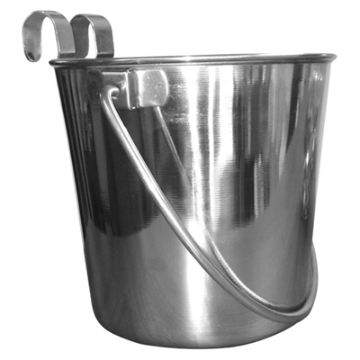 Flat Sided Stainless Steel Bucket with Hooks