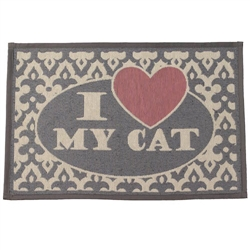I Love My Cat Gray/Pink Tapestry Placemat