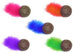 "MultiPet - 2"" Catnip Ball, total 5"" including feather"
