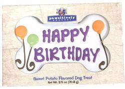 """6"""" Happy Birthday Bone, White (Gift Box)"""