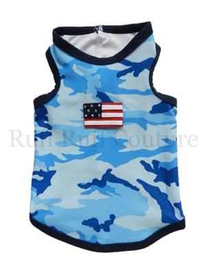 Camo Blue American Tank by Ruff Ruff Couture®