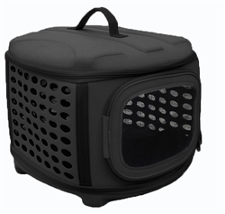 Black Circular Shelled Perforate Lightweight Collapsible Military Grade Transporter Pet Carrier