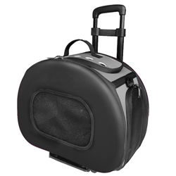 Black Tough-Shell Wheeled Collapsible Pet Carrier