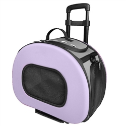 Purple Tough-Shell Wheeled Collapsible Pet Carrier
