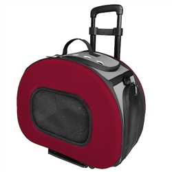 Red Tough-Shell Wheeled Collapsible Pet Carrier