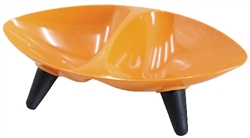 Orange Melamine Double Food And Water Dog Bowl