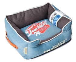 Dark Blue Touchdog Original Sporty Vintage Throwback Reversible Plush Rectangular Dog Bed