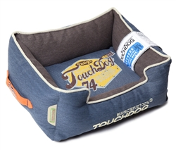 Midnight Blue Touchdog Original Sporty Vintage Throwback Reversible Plush Rectangular Dog Bed