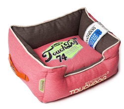 Flamingo Pink Touchdog Original Sporty Vintage Throwback Reversible Plush Rectangular Dog Bed