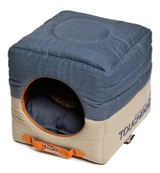 Navy Blue Touchdog Convertible And Reversible Vintage Printed Squared 2-In-1 Collapsible Dog House Bed