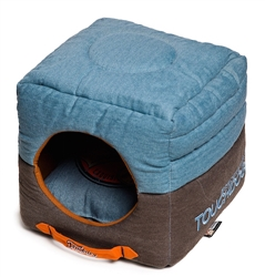 Denim Blue Touchdog Convertible And Reversible Vintage Printed Squared 2-In-1 Collapsible Dog House Bed