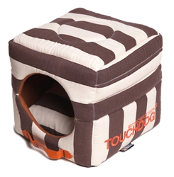 Cocoa Brown Touchdog Polo-Striped Convertible And Reversible Squared 2-In-1 Collapsible Dog House Bed