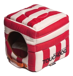 Red Touchdog Polo-Striped Convertible And Reversible Squared 2-In-1 Collapsible Dog House Bed