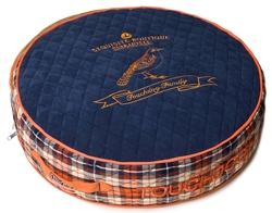 Royal Blue Touchdog Bark-Royale Posh Rounded And Raised Designer Fleece Plaid Dog Bed