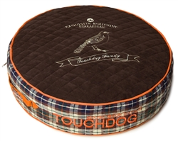 Dark Brown Touchdog Bark-Royale Posh Rounded And Raised Designer Fleece Plaid Dog Bed
