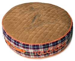 Light Brown Touchdog Bark-Royale Posh Rounded And Raised Designer Fleece Plaid Dog Bed