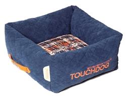 Dark Blue Touchdog Exquisite-Wuff Posh Rectangular Diamond Stitched Fleece Plaid Dog Bed