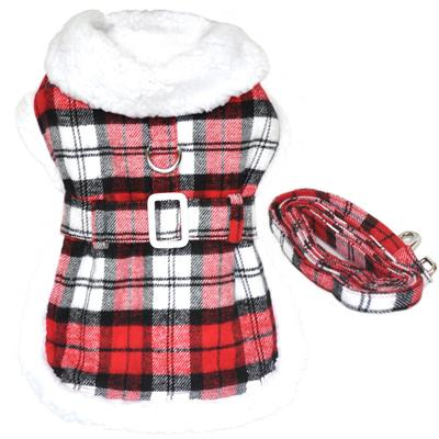 Designer Red and White Plaid Harness Coat and Matching Leash