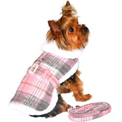 Designer Pink & White Plaid Harness Coat and Matching Leash