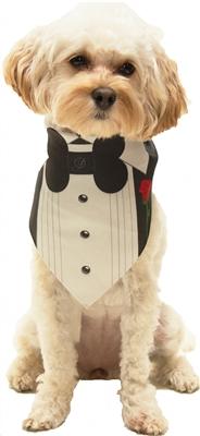 Dog Bandana Tuxedo With a Rose by Dog Fashion Living  ( 2 PACK )